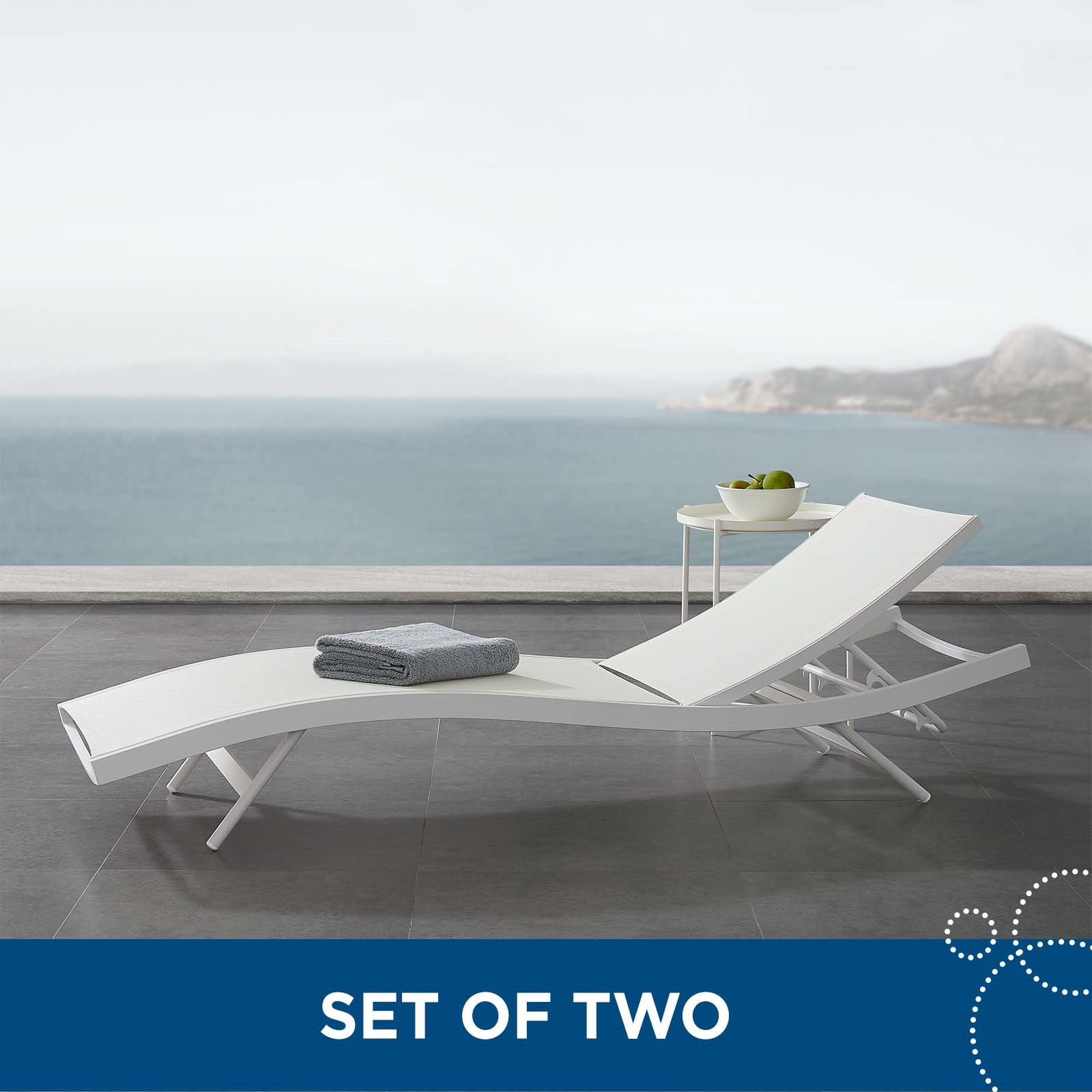Glimpse Outdoor Patio Mesh Chaise Lounge Set of 2 in White White