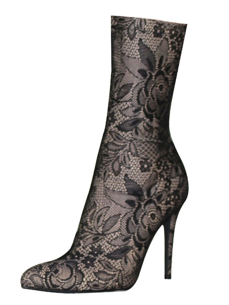 Milanoo Grey Ankle Boots Lace Pointed Toe Stiletto Heel Booties High Heel Boots For Women