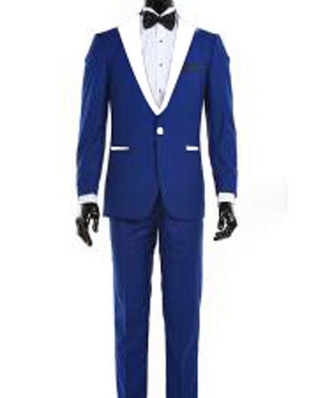 Mens 1 Button Royal Blue and White Lapel Tuxedo Suit