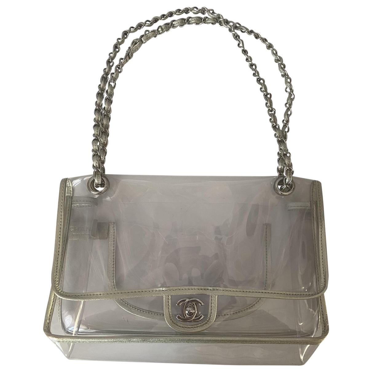 Chanel Timeless/Classique Handtasche in  Silber Kunststoff