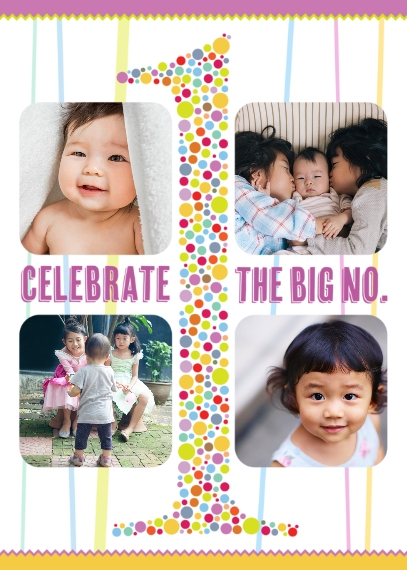 Kids Birthday Greeting Cards 5x7 Folded Cards, Premium Cardstock 120lb, Card & Stationery -The Big No 1 Birthday