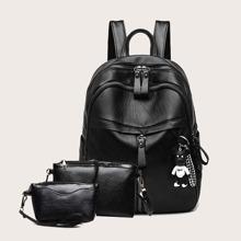 3 Stuecke minimalistischer Rucksack Set mit gebogenem Oberteil