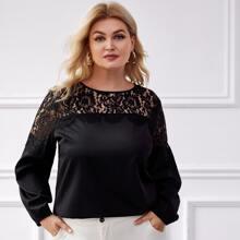 Blusas Extra Grandes Encaje en contraste Liso Casual