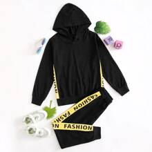 Boys Letter Graphic Hoodie With Sweatpants