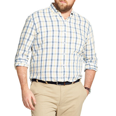 IZOD Big and Tall Plaid Button-Down Shirt, 5x-large , Yellow