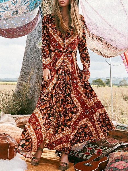 Milanoo Summer Floral Print Long Sleeve Bohemia Beach Maxi Long Dress