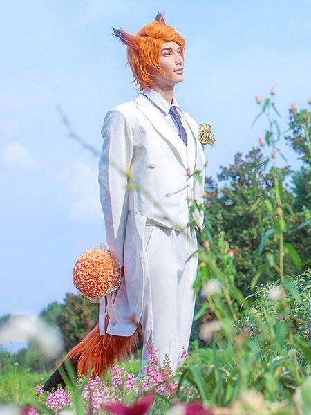 Milanoo Zootopia Nick Wilde Fox Halloween Cosplay Costume White Wedding Suit Halloween