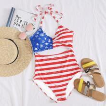 Einteiliger Badeanzug mit amerikanischer Flagge Muster und Ausschnitt