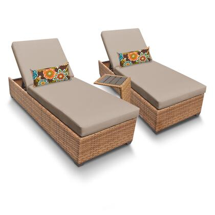 LAGUNA-2x-ST-WHEAT Laguna Chaise Set of 2 Outdoor Wicker Patio Furniture With Side Table with 2 Covers: Wheat and