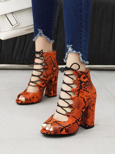 Milanoo Sandalias sexy para mujer Leopard PU Cuero punta redonda Zapatos sexy