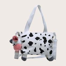 Maedchen Schultertasche mit Kuh Design