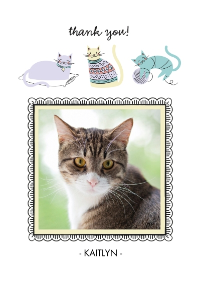 Pets Flat Matte Photo Paper Cards with Envelopes, 5x7, Card & Stationery -Raining Cat Kisses