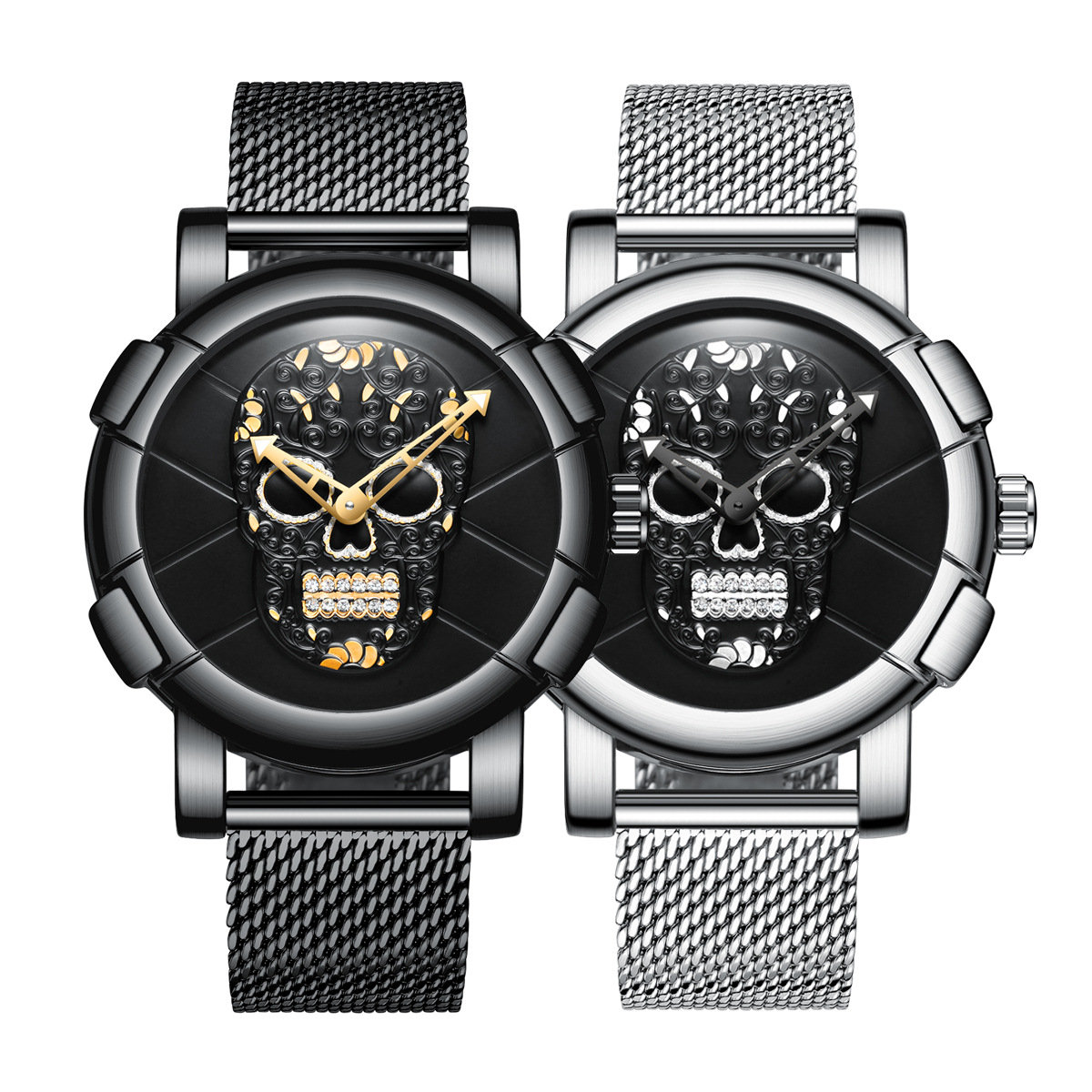 Fashion Style Creative Quartz Watch 3D Skull Men Wrist Watch Stainless Steel Men Watch