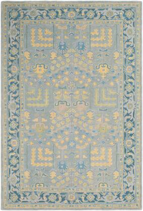 Fire Work FIR-1001 8' x 10' Rectangle Traditional Rug in Sage  Teal  Saffron  Ice Blue  Olive