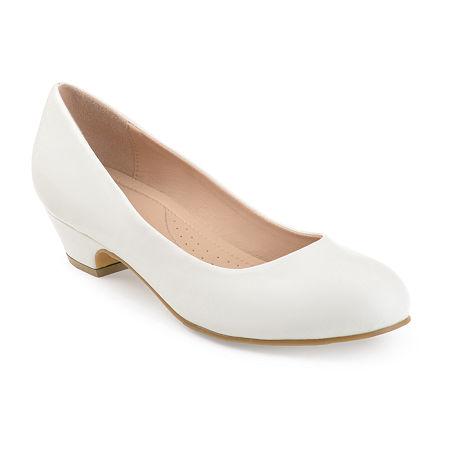 Journee Collection Womens Saar Pumps Block Heel, 6 1/2 Medium, White