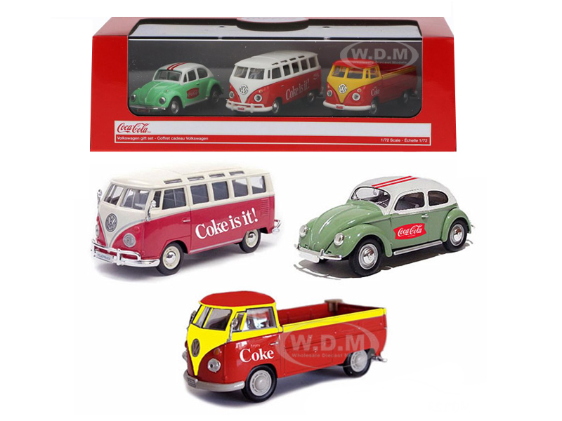 Volkswagen Coca Cola 3 Piece Gift Set 1/72 Diecast Car Models by Motorcity Classics