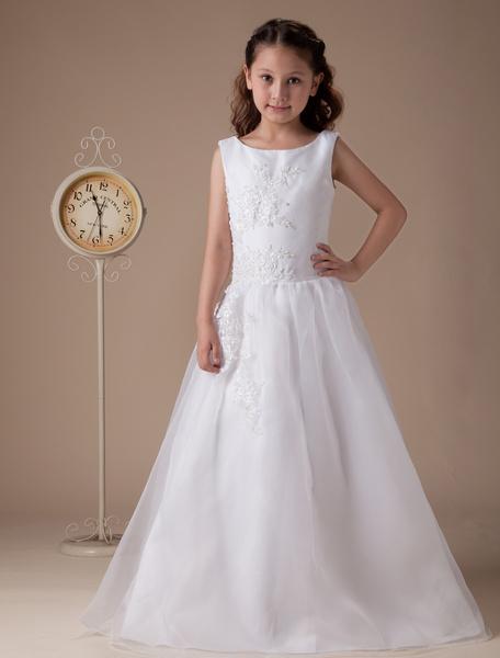 Milanoo Vestido para damitas blanco de saten estilo de vestido de baile con escote redondo hasta el suelo