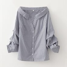 Off Shoulder Ruched Sleeve Striped Blouse