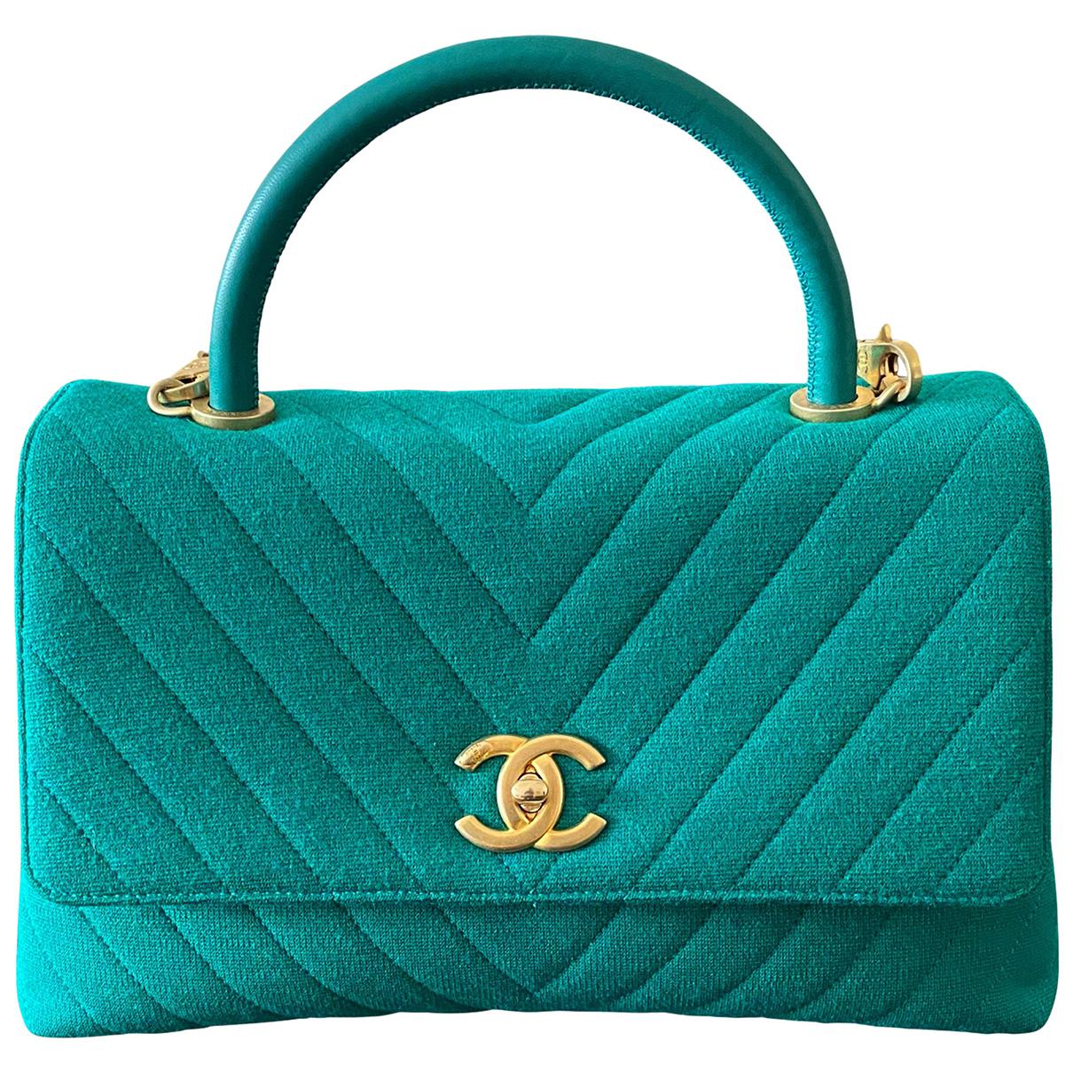 Chanel Coco Handle Green Cloth handbag for Women N