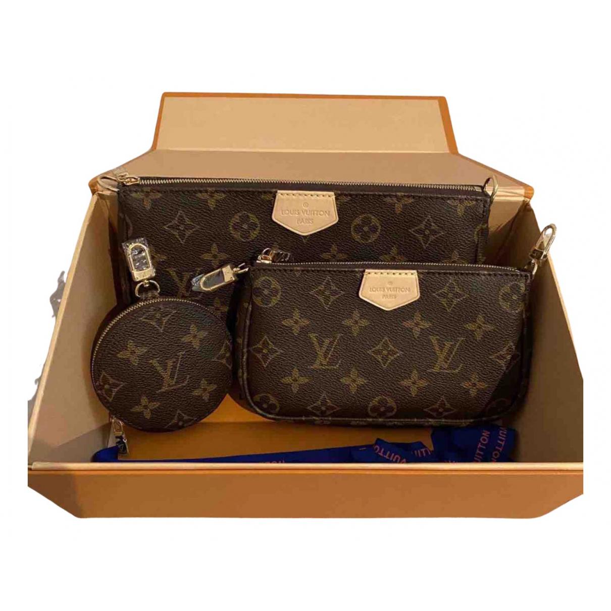 Louis Vuitton Multi Pochette Access Clutch in  Braun Leinen