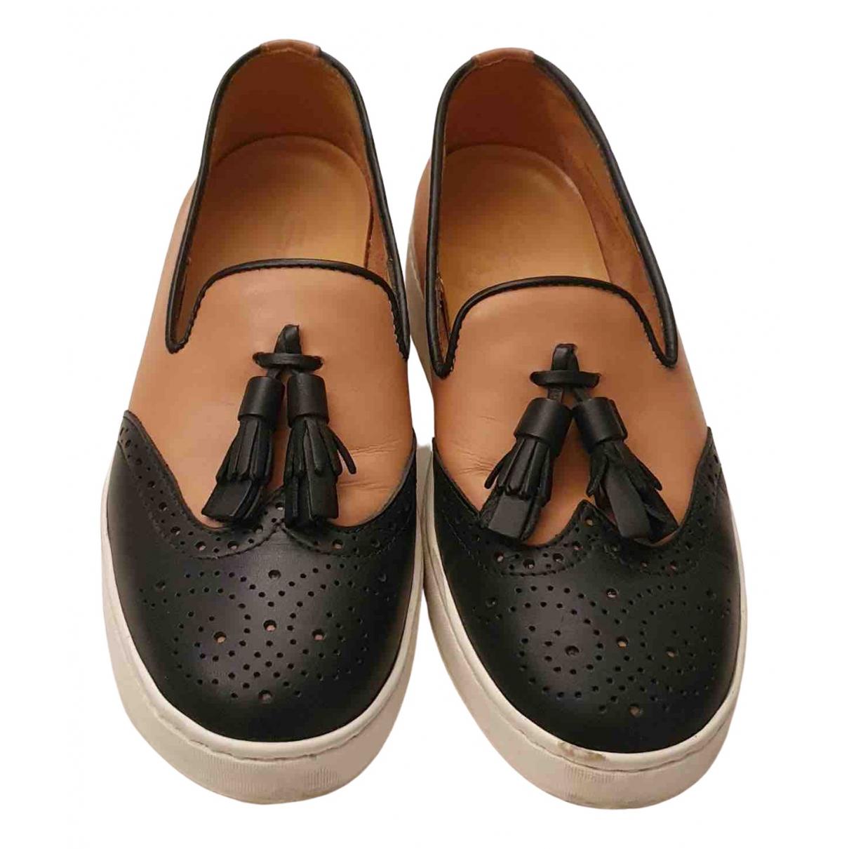 Santoni \N Camel Leather Flats for Women 37.5 EU