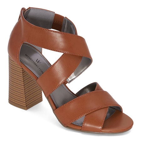 Worthington Womens Bassett Heeled Sandals, 5 Medium, Brown