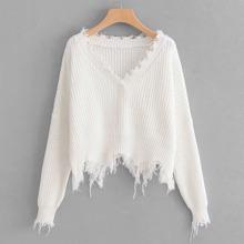 Distressed Trim Drop Shoulder Sweater