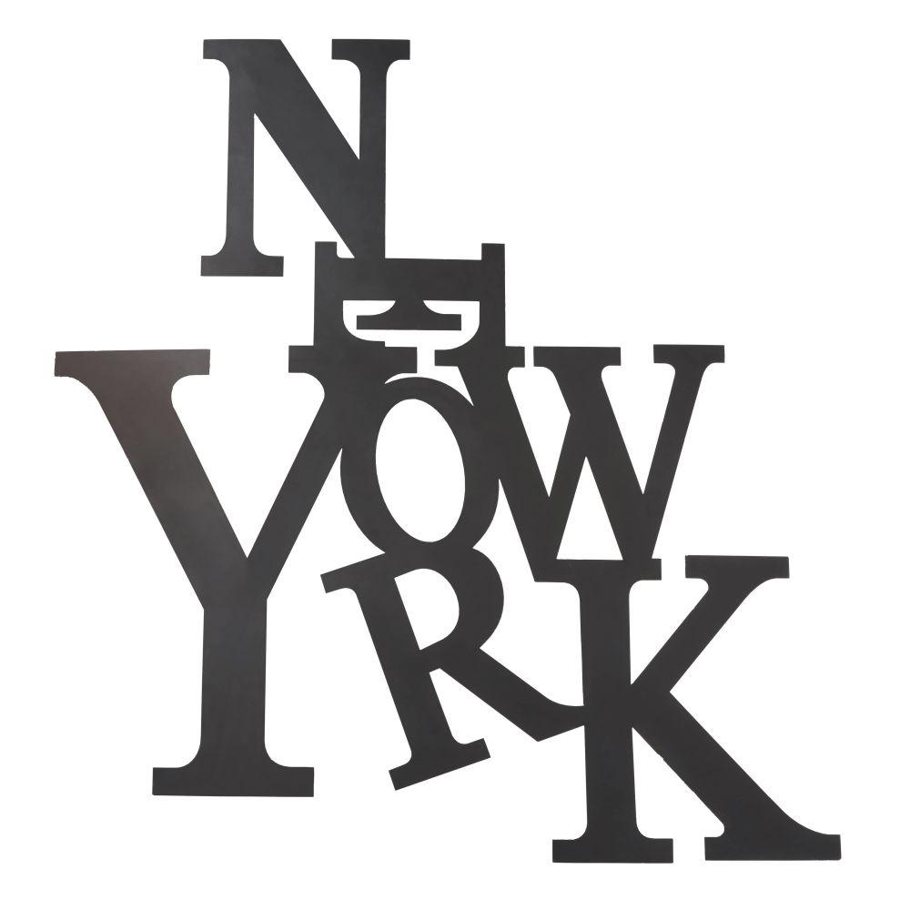 Wanddeko Schriftzug New York aus schwarzem Metall 120x110