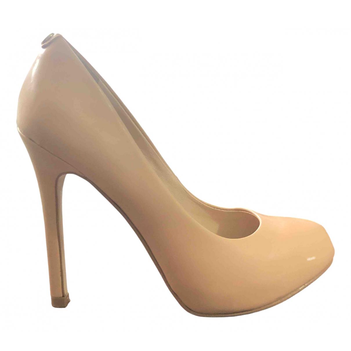 Guess N Beige Leather Heels for Women 35 EU
