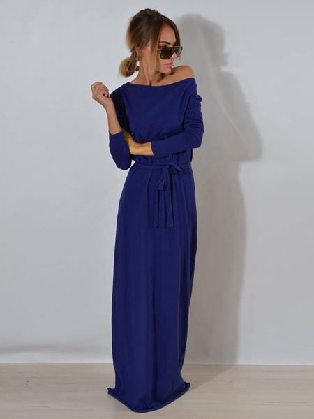 Milanoo Vestido largo Gris Moda Mujer Color liso con manga larga Vestidos de algodon mezclado informal de cordon con escote redondo Otoño