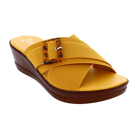 Italiana By Italian Shoemakers Womens Delaney Wedge Sandals, 7 1/2 Medium, Yellow