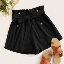 Paperbag Waist Belted Double Button Shorts