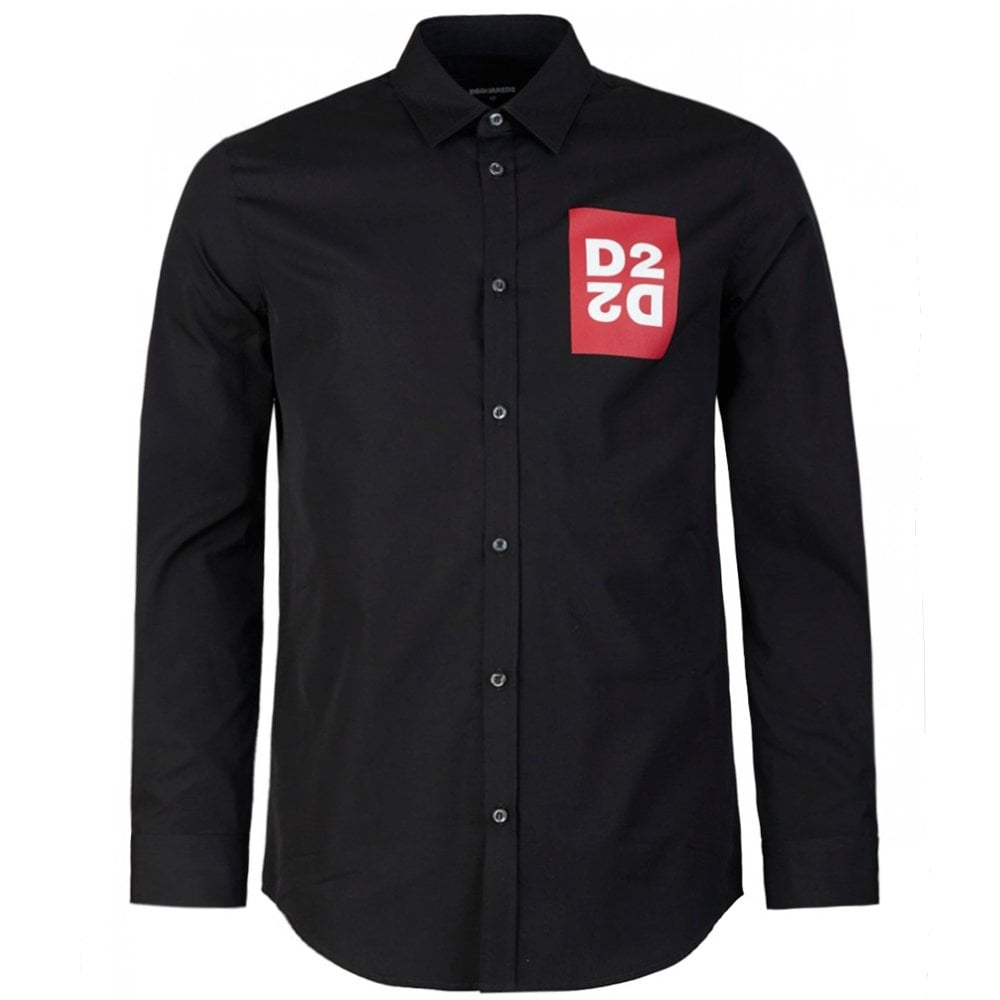 DSquared2 D2 Logo Print Shirt Colour: BLACK, Size: LARGE