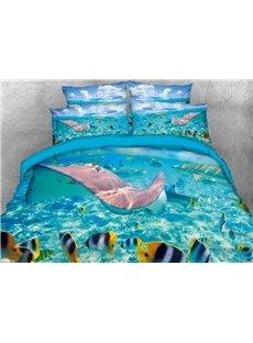 Vivilinen 3D Ocean Marine Organism Printed 4-Piece Bedding Sets/Duvet Covers