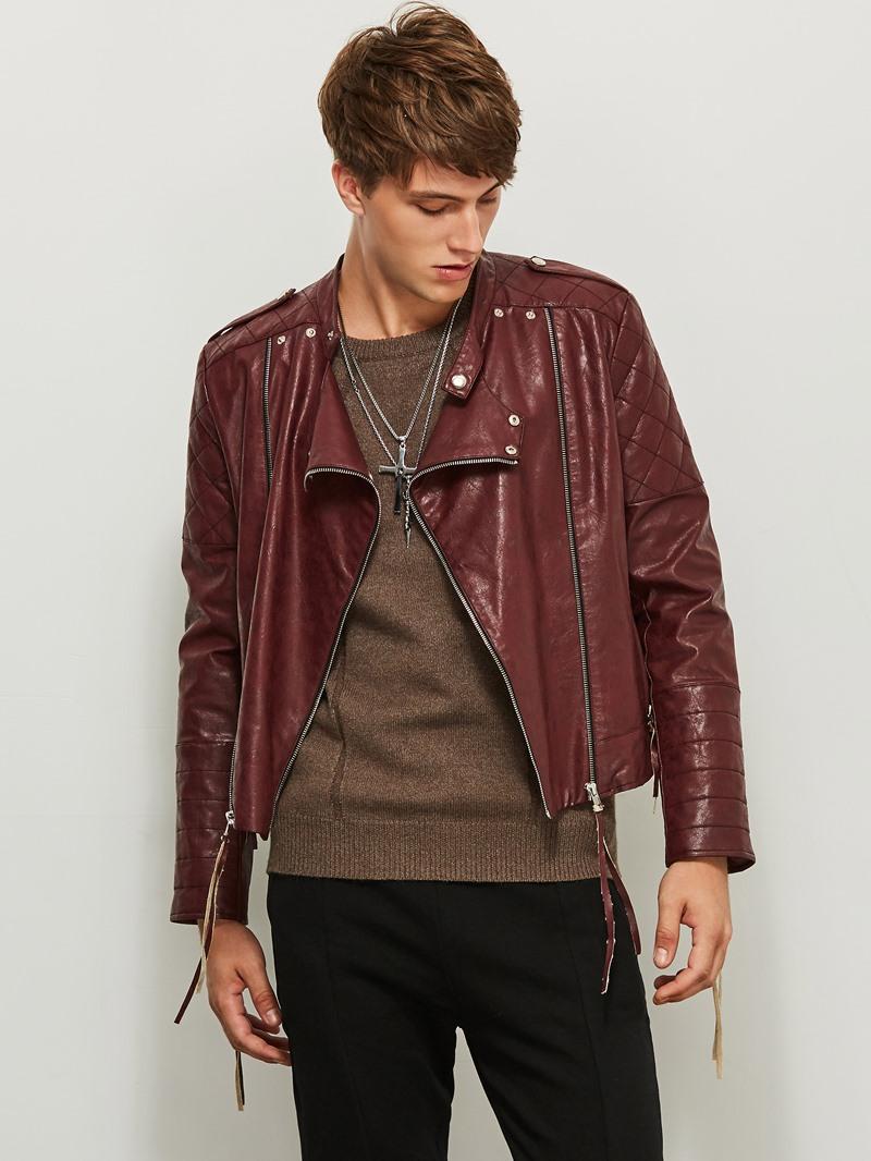 Ericdress Lapel Loose Zipper Solid Color Patchwork Men's Jacket