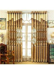 Chenille Goldern European style Room Darkening Curtain
