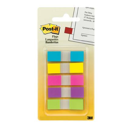 Post-it@ drapeaux, 0.47 '' x 1.7 '', assortis couleurs vives 607119
