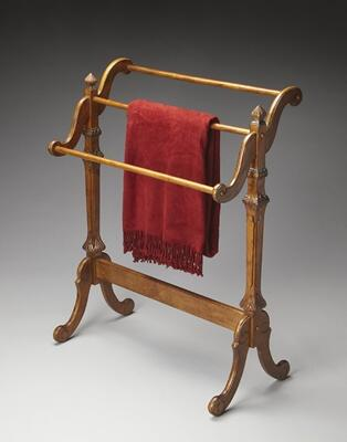 Newhouse Collection 1910001 Blanket Stand with Traditional Style and Rubberwood Solids in Vintage Oak
