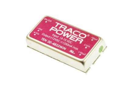 TRACOPOWER TEN 30WIN 30W Isolated DC-DC Converter Through Hole, Voltage in 18 → 75 V dc, Voltage out ±12V dc