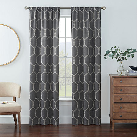 Eclipse Kerry Geo Print Energy Saving Blackout Rod-Pocket Set of 2 Curtain Panel, One Size , Gray