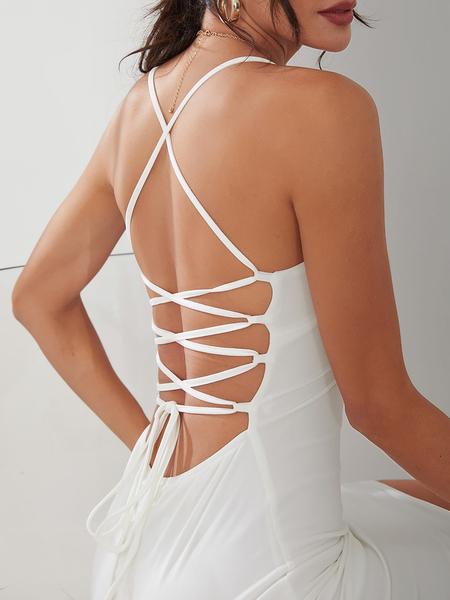 Yoins White Sexy V-neck Open Back Dress