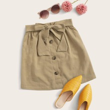 Button Front Belted Skirt