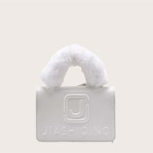 Bolso cartera con diseño de letra con pelo sintetico