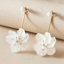 1 Paar Perlen Decor Floral Drop Ohrringe