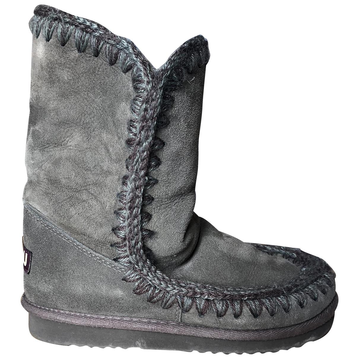 Mou - Boots   pour femme en suede - gris