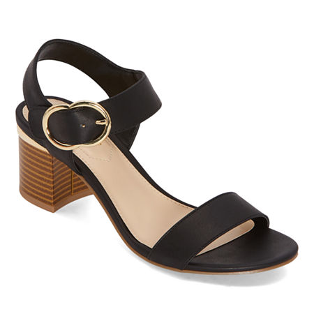 Liz Claiborne Womens Lovey Heeled Sandals, 5 1/2 Medium, Black