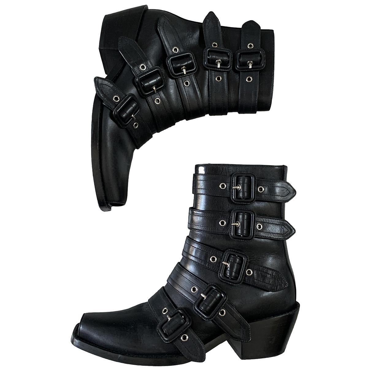 Burberry - Boots   pour femme en cuir - noir