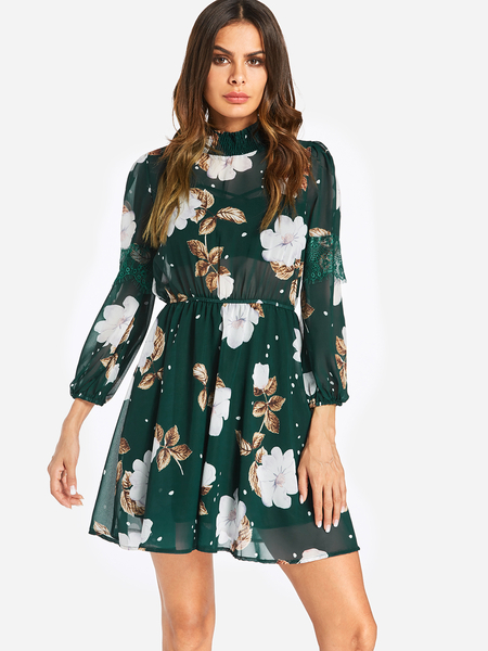 Yoins Green See Through Tiered Floral Print Perkins Collar Stretch Waistband Dress
