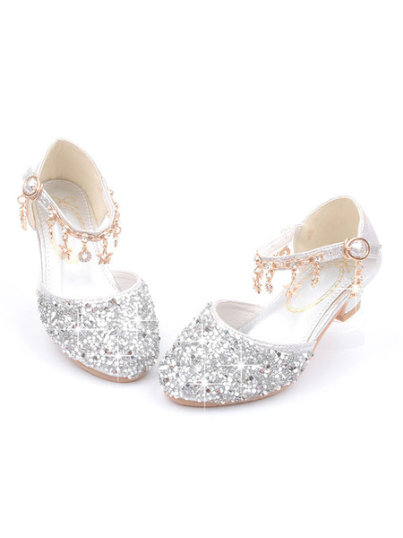 Milanoo Zapatos de niña de las flores Zapatos de fiesta de diamantes de imitacion con punta redonda rosa Zapatos de desfile con lentejuelas