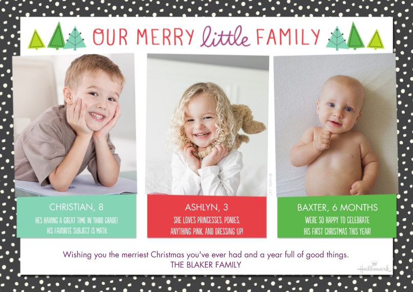 Christmas Photo Cards 5x7 Cards, Premium Cardstock 120lb with Rounded Corners, Card & Stationery -Our Merry Little Family